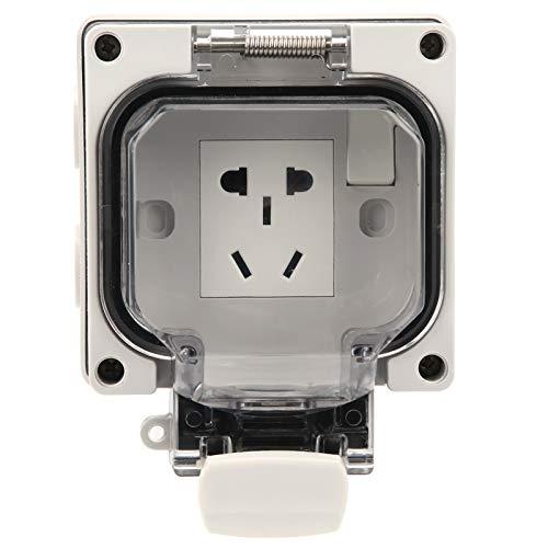 Aukson Zócalo Impermeable, enchufes eléctricos Zócalo de Interruptor Impermeable de 3 Orificios Orificio de Montaje Desmontable