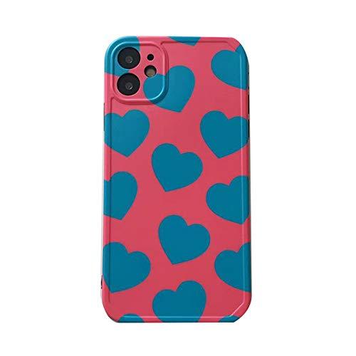 ネックレス ファッション愛は青いハートの塗られた電話ケースiPhone 11 11pro 12 12pro Max SE2 7 8 Plus X XR XS MaxシリコーンTPUリアカバー 大人の装飾用 (Color : CY092, Material : For iphone8)