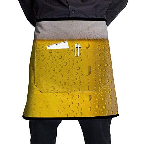 N\A Delantales de Chef de Cintura de Medio Cuerpo Personalizados Unisex con Burbujas de Cerveza y Gotas de Agua con Bolsillos para Cocina, Restaurante, Barbacoa, Pub, camareros