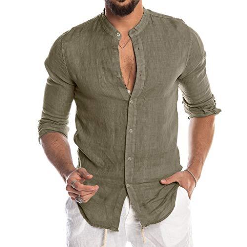 Luckycat Hombre Camisa de Lino sin Cuello Camisa Hombre Cuello Mao Lino Blusa Manga Larga Camisas Top Sin Cuello De Color Sólido Blusas Suelta Camisas De Trabajo Suave Cómodo Transpirable