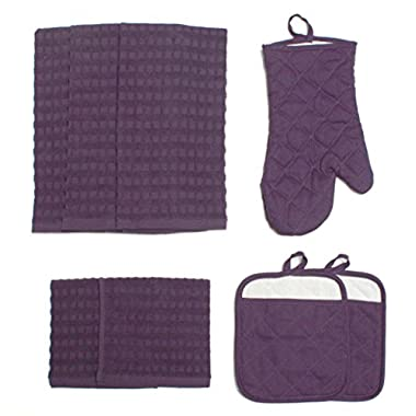 J&M Home Fashions Cotton Kitchen Dish Towels, Pot Holder and Oven Mitt, Set of 8 for Cooking, Baking, Housewarming, Host/Hostess, Wedding Registy, Eggplant Purple