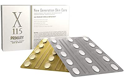 X115® Primary | Anti Aging Tabletten | Hyaluron + Kollagen | Kurkuma Extrakt + MSM | Liponsäure + Resveratrol | Nahrungsergänzungsmittel Haut, Haare und Nägel | 1er Pack 15 + 15 Day & Night Tabletten