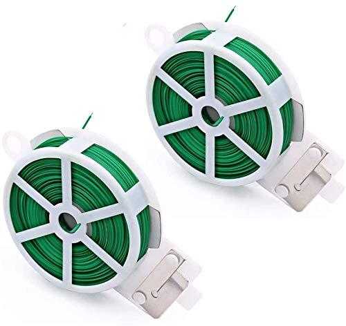 GiantGo 2 unidades de alambre de 50 m para jardín – Corbata de torcedura para plantas con cortador para jardinería, hogar, oficina (verde, 50 m = 164 pies, 2 unidades)