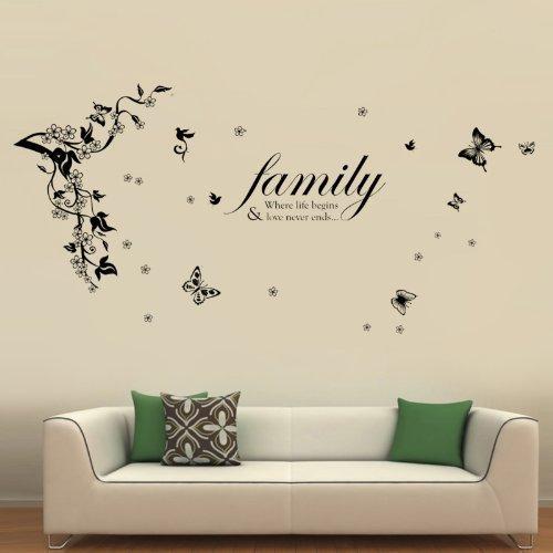 Walplus 168x60 cm Wand Sticker Schmetterlinge Wein Familie Zitate Vinyl Heim Dekoration DIY Wohnzimmer Schlafzimmer Büro Dekor Tapete Kinderzimmer Geschenk, Mehrfarbig