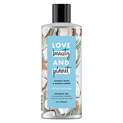 Love Beauty And Planet Gel de ducha vegano de agua de coco y flor de Mimosa, refrescante radical, frescura energizante, suministro de 4 meses, 500 ml (Paquete de 6)