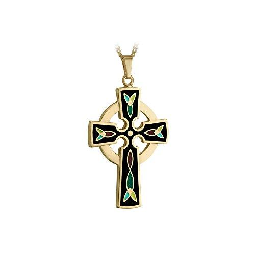 Biddy Murphy Celtic Cross Necklace Gold 18K Plated & Black Enamel Made in Ireland