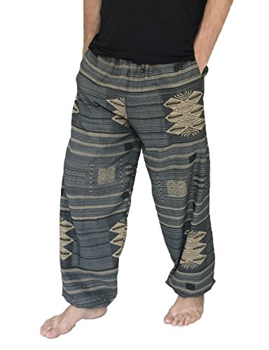 Love Quality – Pantalones holgados de algodón 100%, estampados, para hombre, talla única, estilo hippie/bohemio - Gris - Talla Única