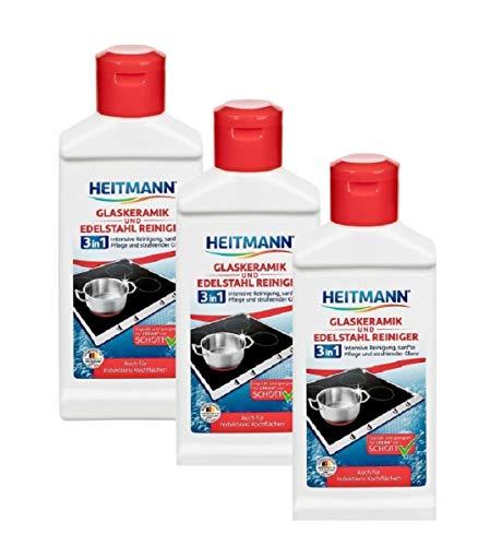 Heitmann Glaskeramik Edelstahl Reiniger, Intensivreiniger für Kochfelder, Edelstahl, Chrom, Messing, 3×250ml