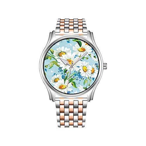 Reloj de hombre de acero inoxidable, color oro rosa, reloj de pulsera de hombre, elegante con ancla