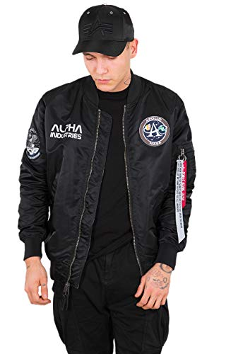 Alpha Industries Herren Bomberjacken Ma-1 Moon Landing Rev schwarz 2XL