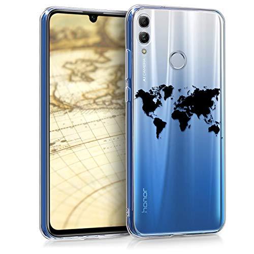 Preisvergleich Produktbild kwmobile Hülle kompatibel mit Huawei Honor 10 Lite - Handyhülle - Handy Case Travel Umriss Schwarz Transparent