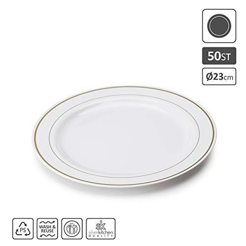 Silverkitchen 50x Speiseteller weiß Ø 23 cm aus Plastik | stabile Plastikteller mit Goldrand Alt. zu Einweg | Partygeschirr in Porzellan Optik | hochwertige Qualität wiederverwendbar