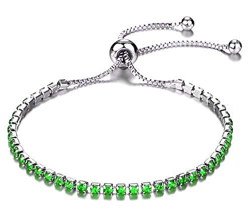 Armband - vrouw - groene glitter - verstelbaar - meisje - origineel cadeau-idee - valentijnsdag - verjaardag - kerstmis - sieraden - kostuumjuwelen - zilver strass