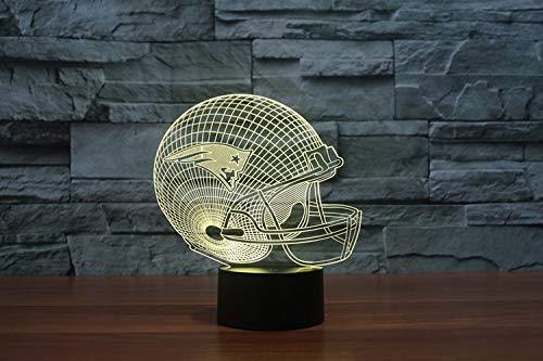 Yangll 3D New England Patriots Logo NFL Team Collection Football Helm Visuelle Lampe Wohnkultur LED Tischlampe Nachtlicht