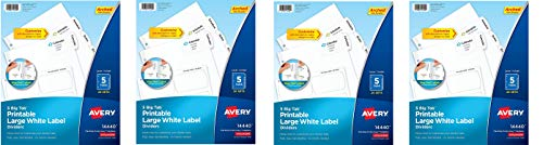 AVERY Big Tab Printable Large White Label Dividers with Easy Peel, 5 Tabs, 20 Sets (14440) (Pack of 4)