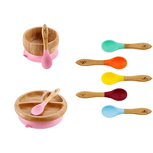 Avanchy Bamboo Divided Baby Plate, Bowl & Assorted Spoons Set - Suction Plates and Bowls for Toddlers - 9 Months and Older (Rainbow Gift Set in Pink)