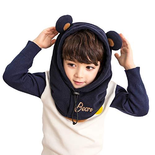 Azarxis Kids Balaclava Fleece Ski Face Mask Hat Neck Warmer Nose Cover Winter Animal Hood Cap for Boys Girls (Navy Blue (Little Bear))