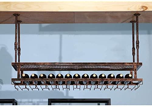 Soporte decorativo para vino, bar, restaurante, vino, cristal, vidrio, hogar, techo, hierro, 2 niveles, soporte multifunción, altura ajustable, 60 x 30 cm (color: 60 x 30 cm)