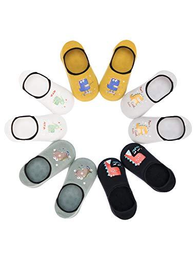 Adorel Jungen Sneaker Socken Unsichtbar Anti-Rutsch 5er-Pack Dinosaurier 23-25 (Herstellergröße M)