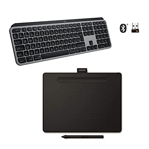 Logitech MX Keys Advanced Teclado Inalámbrico con Retroiluminación, para Mac y Wacom Intuos M, Tableta Gráfica Bluetooth para Pintar, Dibujar y editar Photos, Pack optimizado para Mac