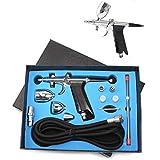Dual-Action Airbrush Pen Spray Gun Precision Trigger Style Gravity-Feed Airbrush Set 3 Tip Set (0.3mm 0.5mm 0.8mm)