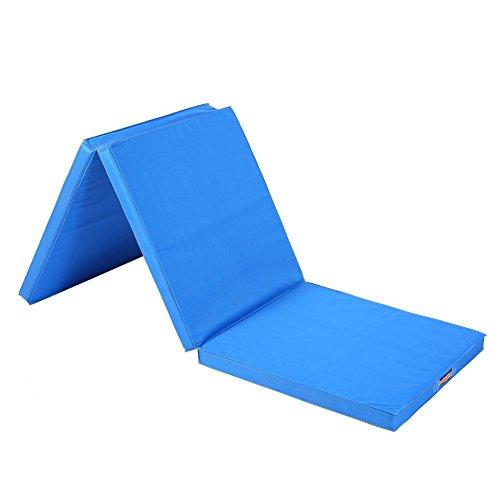 Colchoneta Plegable Gimnasia, de Oxford, Polymeric Sponge y Environmental Pearl Cotton anti-scivoloso 180x 60x 5cm, 1200g, azul claro