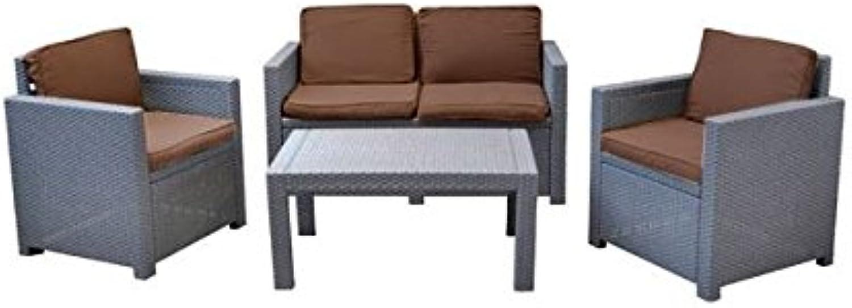 Buri Lounge Auflagen-Set 8er Cappuccino-Braun Sitzgruppe Sessel Sofa Kissen Garten