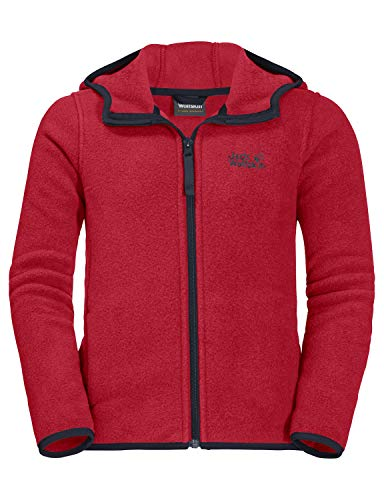 Jack Wolfskin Kinder BAKSMALLA Hooded Jacket Kids Fleecejacke, red Lacquer, 140