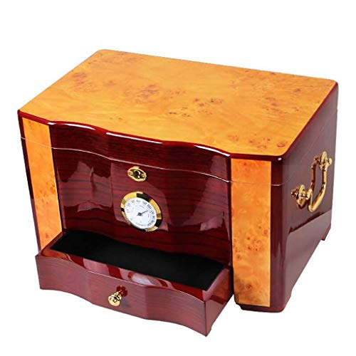 Zigarrenschachtel - Hochwertiger Glossy Piano Finish Holz-Zigarren-Humidor-Kabinett Große Kapazität Doppelschicht Aufbewahrungsbox withLock Hygrometer Luftbefeuchter Hohe Qualität (Farbe : Brown)
