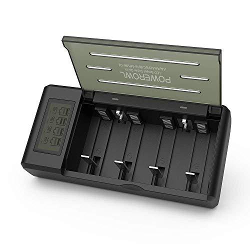 Powerowl Universal Akkuladegerät mit LCD Akku Ladegerät Schnell Batterieladegerät Schnellladegerät für C/D/AA/AAA/SC/9V NI-Mh/NI-CD Batterie