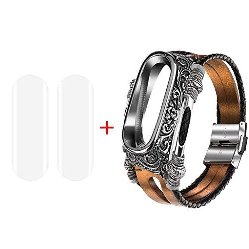スマートウォッチ バンド Xiaomi Mi band 4/3 時計バンド ベルト 腕時計 ベルト腕時計交換用革ベルト 23mm 腕時計 ベルト レトロ 簡単に付け替えできる 2 PC防爆膜付き ステンレススチール+本革 通気性 吸汗速乾 男女兼用 (ゴー