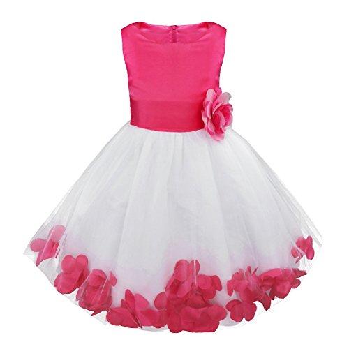 IEFIEL Vestido de Flores Blanco Niña Vestido Boda Fiesta Ceremonia Bautizo Elegante Vestido de Bautismo Disfraz Princesa Infantil Falda con Flores