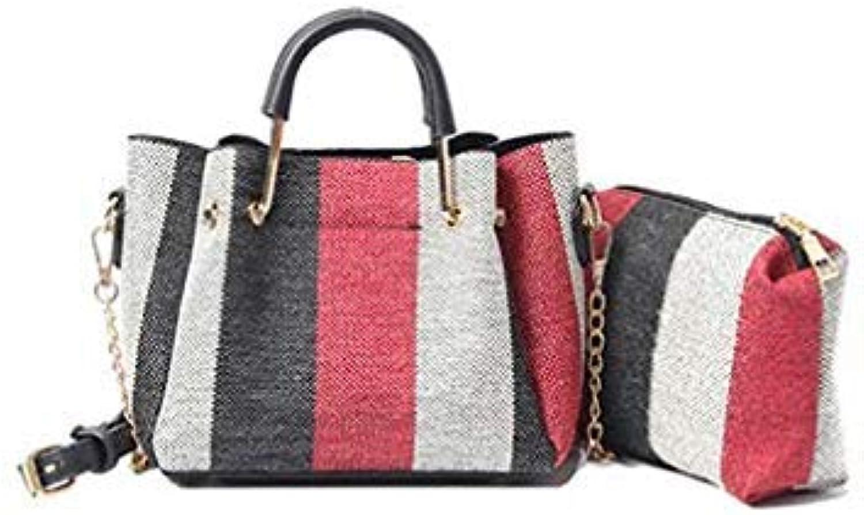 Bloomerang HAblackU Fashion Ladies Totes Striped Handbags Trapeze Shoulder Bags Women Crossbody Bag Messenger Bags 2 Pcs Borsa Da women color Red 20x9x15cm