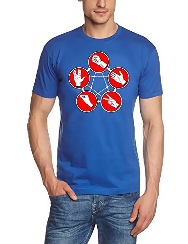 Coole-Fun-T-Shirts T-Shirt Stein Schere Papier Echse Spock Big Bang Theory, blau, XL, 10789_Blau_DR_GR.XL