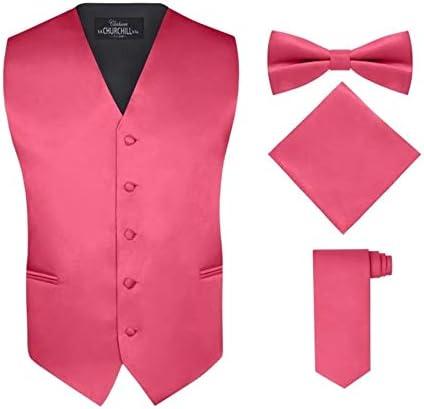 Men s 4 Piece Vest Set with Bow Tie Neck Tie Pocket Hankie Fuschia 4XL product image