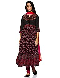 Rain and Rainbow Womens Anarkali Cotton Salwar Suit (Pack of 3)
