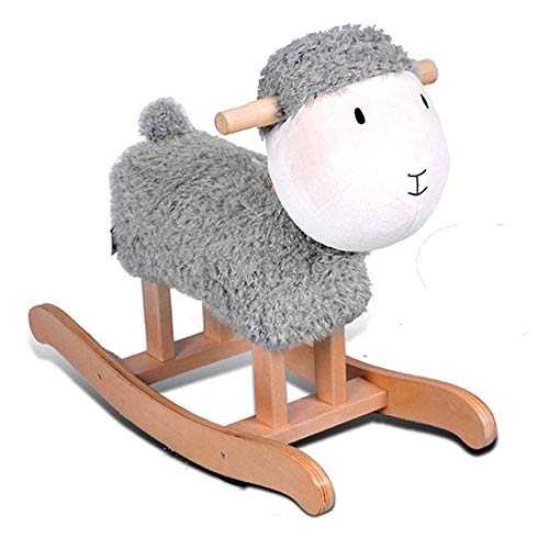 FZJDX Lamb Sheep Solid Wood Children's Rocking Horse Trojan Children's Rocking Horse Toy Rocking Chair Gift (Color : Gray)
