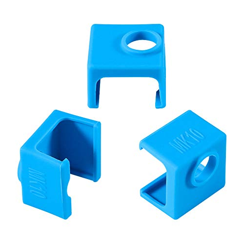 3D Printer MK10 Silicone Socks, Aokin 3 Pcs MK10 Heater Block Silicone Cover for Wanhao Duplicator i3 Mini Monoprice V2 Makerbot 2 QIDI Tech Flashforge, Blue