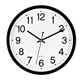 Bekith 12-Inch Clock Silent Non-Ticking Wall Clock, Easy to Read Home/Office/School Clock, Black and White