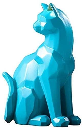 GaoF Escultura de Gato Estatua Hecha a Mano Sala de Estar Estudio Oficina Artesanía Decoración, Blanco