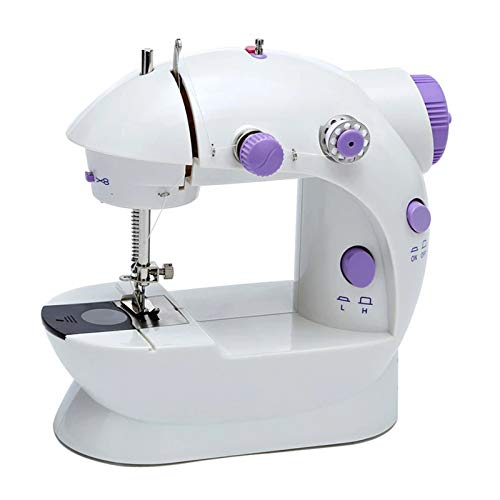 AIZYR Portable Electric Sewing Machine, Household Adjustable 2-Speed 2-Thread Sewing Machine with Lights, Foot Pedal for Beginner,UK Plug