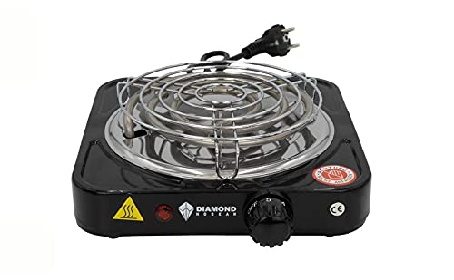DH-Home Premium elektrische Kochplatte einzeln, 1000W Edelstahl Herdplatte, 5 Leistungsstufen, Mobile Herdplatte Elektro für Büro, zu Hause und Unterwegs