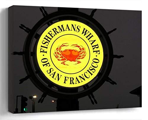 Amymami Wall Art Print Canvas Framed Artwork Home Decor(20x16 in)- Fishermans Wharf Francisco San Pier California