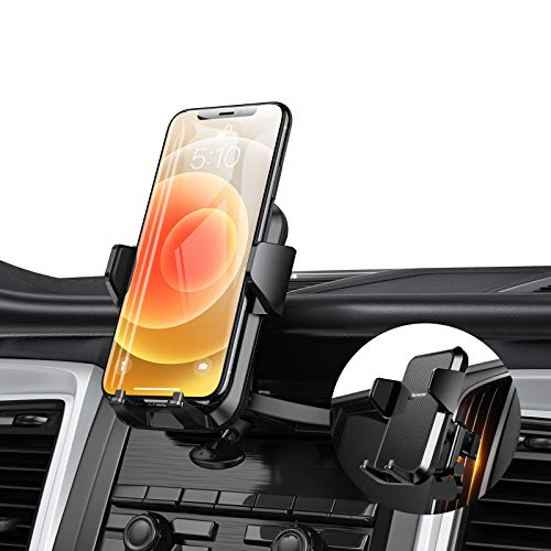 【2 in 1】 CD Slot Car Phone Holder Mount, Anwas Universal CD Player & Air Vent Cell Phone Holder for Car, 360° Rotation Car Mount for iPhone 12 11 Pro Max Mini SE Xs Xr X 8 Plus 7 Plus and All Phones
