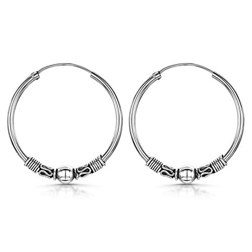 Amberta Fine 925 Sterling Silver - Circle Endless Bohemian Hoops - Round Sleeper Bali Tribal Earrings - Diameter Size: 30 mm - Ball Zigzag and Twist Wires