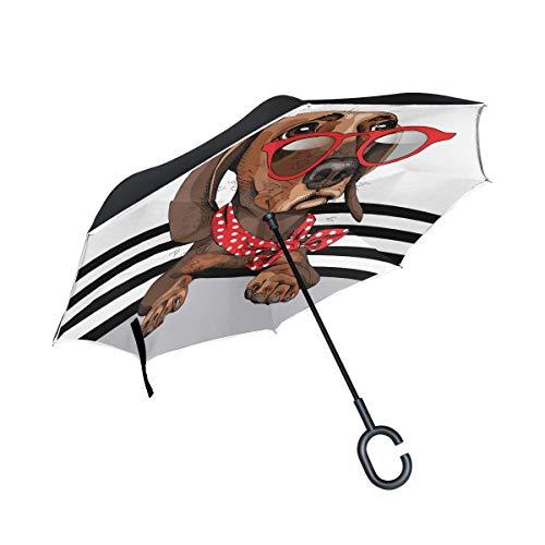 Orediy Umkehrbarer Regenschirm Dackel Hund Doppelschicht Innen Außen Auto Rückwärtsschirm groß Outdoor Anti-UV Winddicht Regen Sonne Reise Regenschirm