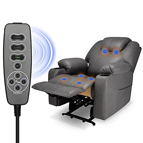 Furgle Electric Power Lift Recliner Leather Vibration Recliner Chair with Heated Single Massage for Elderly Lounge Extend Sofa 3 Positions, 2 Side Pockets and Cup Holders Lounge Chair (Gary)