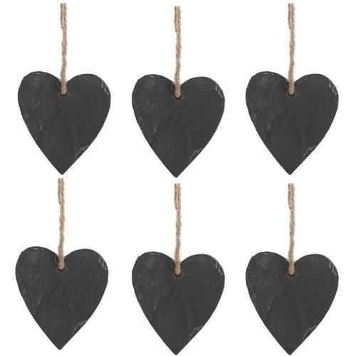 Annastore 6 x Herzen in Schiefer-Optik H 9,5 cm zum Beschriften - Steinherz - Gastgeschenk Hochzeit - Tischkarte Hochzeit - Memotafel Landhausstil