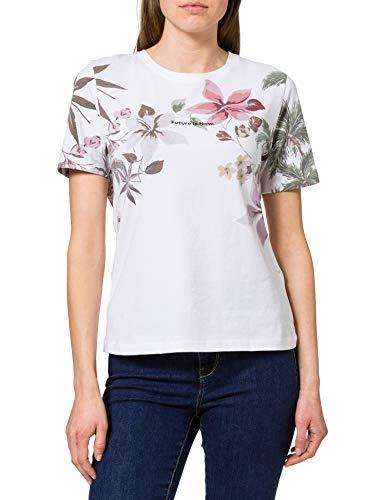 Desigual Tee Crossed Open Back LIF T-Shirt, Bianco, M Donna