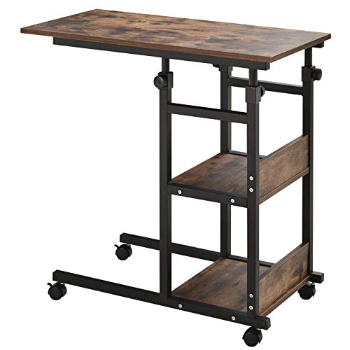 HOMCOM Industrial C-Shaped Mobile Rolling Sofa Side Table with 3-Tier Storage Shelving, Adjustable Height, & Wheels